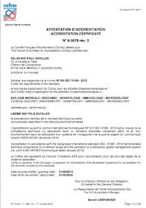 Cofrac Bio Pole Antilles Attestation